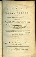 An essay on moral agency. Stephen West, pastor of the church in Stockbridge. To which is added an