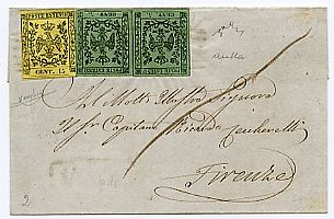 From Aulla to Florence with 5 c. olive green, 2 ex. + 15 c. (3 + 8) ann. with bars. Chiav., Cert.